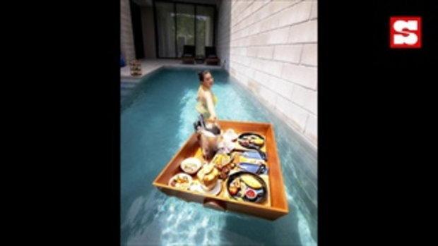 วันว่างสุดชิล บุ๋ม ปนัดดา ใส่บิกินี่ลงสระว่ายน้ำ ดักคอรู้นะว่าต้องซูม!!!