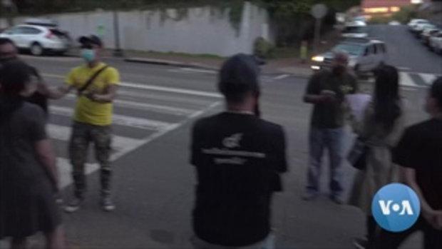 คนไทยในอเมริกา 2 ฝ่าย ชุมนุมหน้าสถานทูต ปะทะคารมร้อน แต่คุยกันได้ไร้การปะทะ