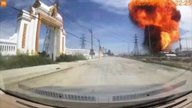 ภาพวินาที!ท่อแก๊สระเบิดสมุทรปราการ