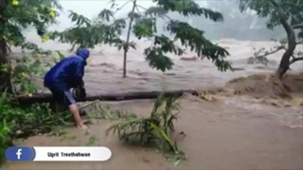 น้ำป่าทะลักคีรีวง จ.นครศรีฯ มวลน้ำทั้งเร็วและแรงไหลเชี่ยวกวาด ขณะฝนยังตกหนัก