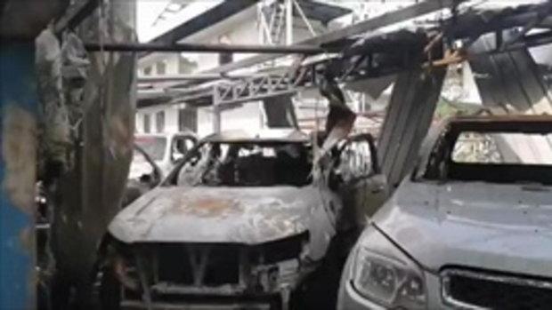 ภาพความเสียหายบ้านเรือนประชาชน หลังไฟไหม้โรงงานกิ่งแก้ว