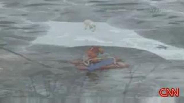 ช่วยสุนัข ลอยอยู่บนแผ่นน้ำแข็ง