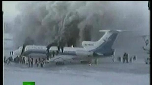 อุบัติเหตุ เครื่องบินไฟไหม้ ระเบิดหักกลางลำ