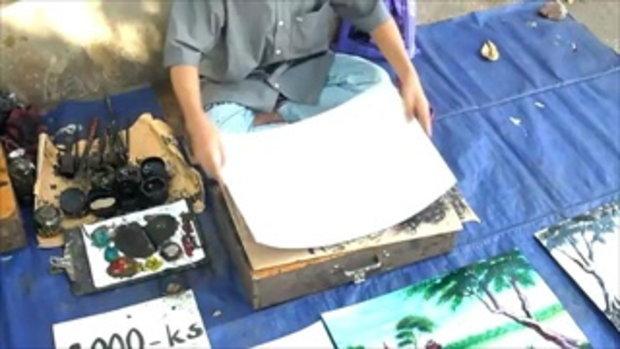 ศิลปินเด็กชาวพม่า โชว์วาดรูปสีน้ำอย่างสวย