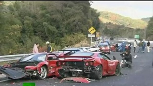 Ferrari Graveyard  Video of 14 supercar pile-up in Japan
