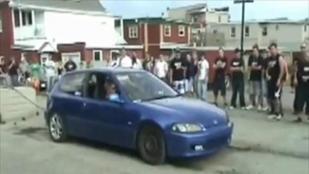 Honda Civic Burnout Win then Fail by sia.co.th