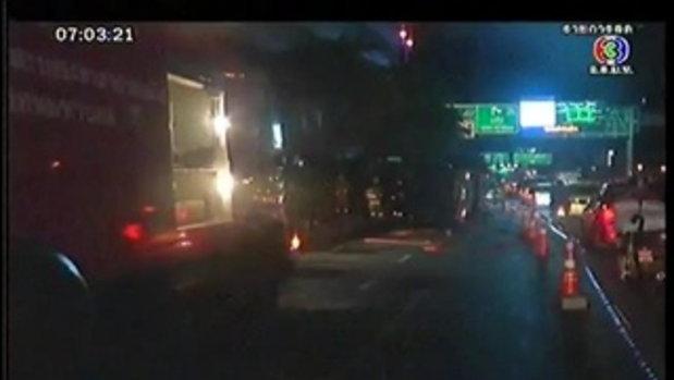 รถบรรทุกแก๊สคว่ำบนถ.สาธร