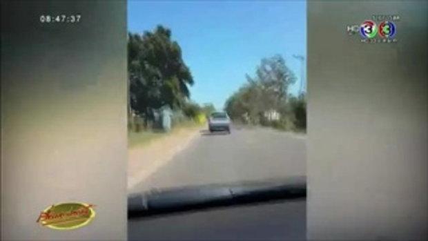 คลิปกระบะขับส่ายไปมาก่อนพุ่งชนคนได้รับบาดเจ็บ คาดเมาแล้วขับ