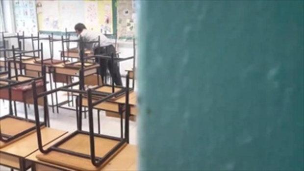 คลิปแอบถ่ายครูทำความสะอาดห้องเรียน เหตุนักเรียนไม่ยอมทำ