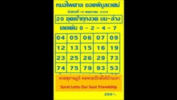 เลขเด็ด 16_5_59 หมอไพศาล ซอยพิบูลเวศม์ หวย งวดวันที่ 16 พฤษภาคม 2559