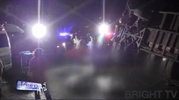 รถทัวร์2ชั้น ซิ่งพลิกคว่ำพังเละตาย 7 เจ็บ25 คน