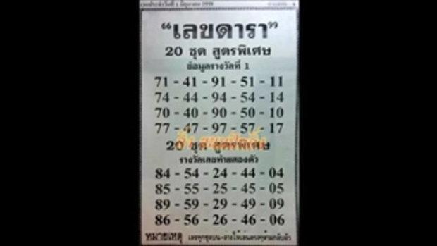 เลขเด็ด เลขดารา หวย งวดวันที่ 1 มิถุนายน 2559