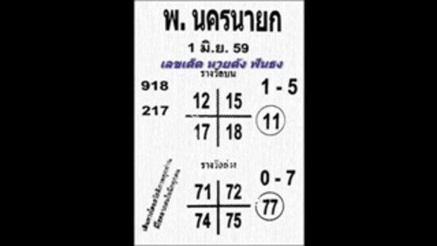 เลขเด็ด พ.นครนายก หวย งวดวันที่ 1 มิถุนายน 2559