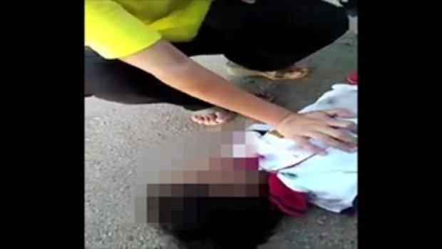 อุทาหรณ์ ตาพาหลานข้ามถนน เด็กสะบัดมือวิ่งไปถูกรถชน
