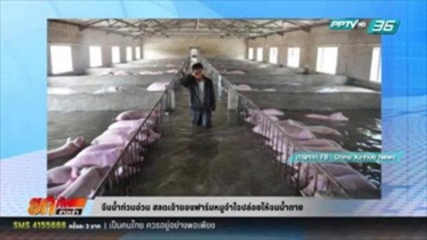 จีนน้ำท่วมอ่วม สลดเจ้าของฟาร์มหมูจำใจต้องปล่อยให้จมน้ำตาย