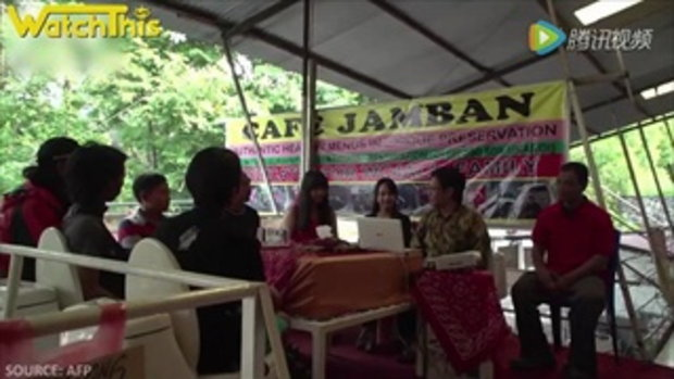 อินโดนีเซียเปิดร้านอาหารเครื่องดื่มเสริฟในชักโครก ขนาดเท่าของจริง