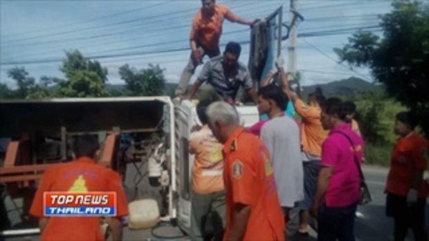 รถกระบะพาญาติจากใต้กลับอีสาน เสียหลักตกร่องกลางถนนเสียชีวิต 3 ราย บาดเจ็บ 2 คน คาดคนขับหลับใน