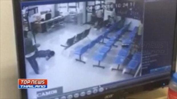 วงจรปิดจับภาพ ตำรวจยิงว่าที่ลูกเขยกลางสำนักงานอัยการทุ่งส่ง