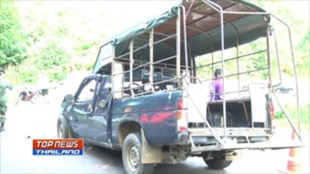 รถกระบะพุ่งชนรถรับ-ส่งนักเรียน มีผู้ได้รับบาดเจ็บ 33 ราย