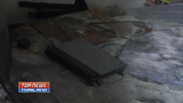 นักศึกษาเสียบปลั๊กโน้ตบุ๊กทิ้งไว้ในหอพัก ไฟฟ้าลัดวงจรลุกไหม้วอดทั้งห้อง