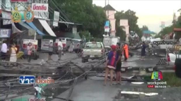 ระทึก ฝนตกหนักพัดถล่มเสาไฟโค่น 30 ต้น รถถูกทับเสียหาย