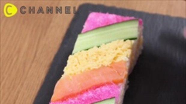 รับซูชิสายรุ้งสักคำมั้ยคะ ซูชิสายรุ้ง ทำง่ายและอร่อย ^^