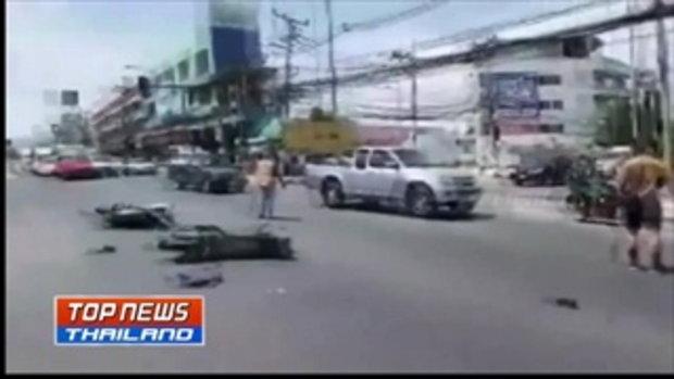 รถตู้ ชน จยย.นักเรียน ม.1 กลางสี่แยกเมืองชล บาดเจ็บ 5 คน