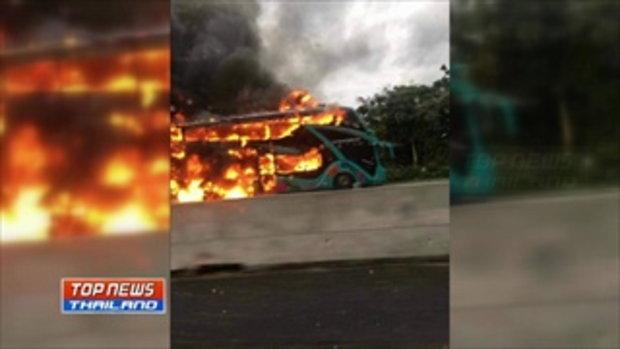 """ไฟไหม้รถทัวร์กลางดอยขุนตาล ผู้โดยสาร 40 คนกลับจากดูงานที่ """"ห้วยฮ่องไคร้"""" หนีตายกันอลหม่าน"""