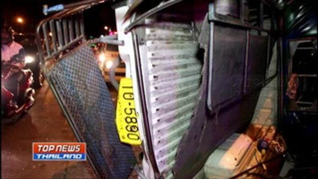 รถเมล์สาย 23 ชนรถสองแถวสำโรง-พระประแดง พลิกคว่ำ มีผู้ได้รับบาดเจ็บ 9 คน