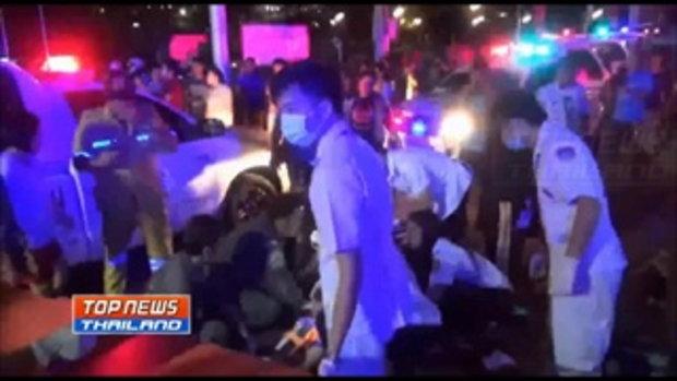 รถพ่วง 18 ล้อ ซิ่งเสยท้ายรถสองแถว ผู้โดยสารเสียชีวิต 1 ราย บาดเจ็บเจ็บกว่า 10 ราย