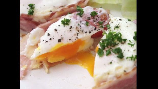 ไข่ลาวาในถ้วยเบคอน