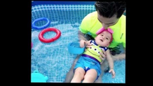 เคลิ้มไปเลยลูก !! เมื่อเห็นสีหน้าของ น้องเป่าเปา หลังโดนจับลอยน้ำ บอกเลยว่าฟินมาก!!