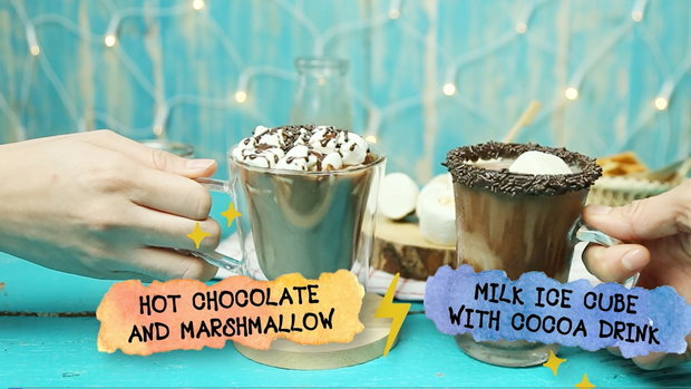 Hot Chocolate and Marshmallow and Milk Ice Cube with Cocoa drink