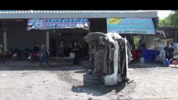 คลิปวงจรปิด สาวอ่างทองซิ่งกระบะ พุ่งชนเต็นท์รถมือ 2 เสียหายหลายคัน