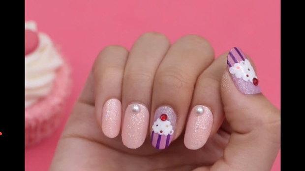 เพนท์เล็บคัพเค้กหวานๆ (Cupcake Nail Art)