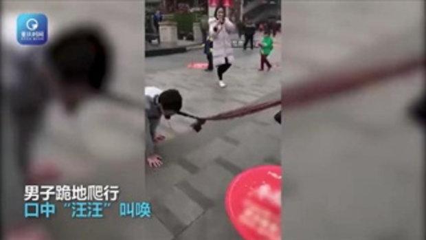 วิจารณ์สนั่น หนุ่มถูกสาวจูงผ้าพันคอ คลาน-เห่ากลางถนน