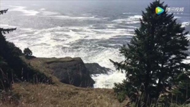 สามีภรรยาชาวจีนเพิ่งไปย้ายอยู่สหรัฐฯ ถูกคลื่นยักษ์ซัดม้วนลงทะเลดับ