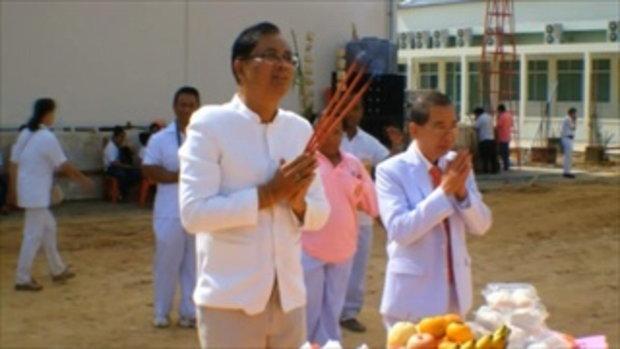 Sakorn News : วางศิลาฤกษ์หอพระไตรสว่างศรัทธาพุทธสถาน