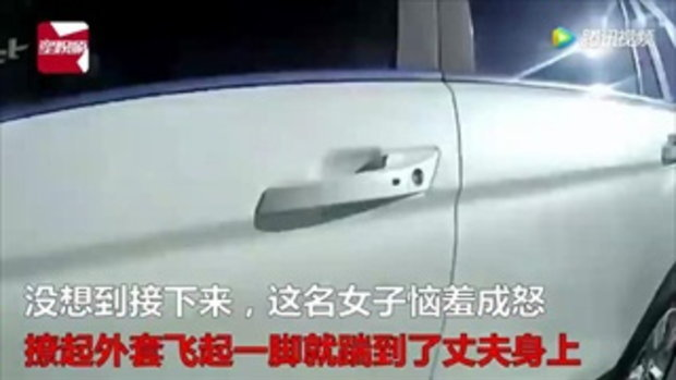 กระโดดถีบสามีกลางถนน ขู่จะหย่า เพราะสารภาพตำรวจว่าเมาแล้วขับ