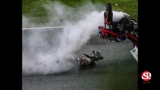 ภาพระทึกขวัญ จอนนี่ อันวา เกิดอุบัติเหตุระหว่างแข่งมอเตอร์ไซค์