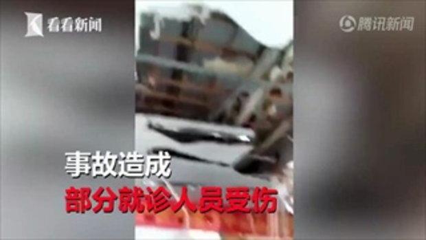 โรงพยาบาลจีนระทึก ฝ้าเพดานถล่ม ขณะเด็กนักเรียนตรวจร่างกาย เจ็บหลายราย