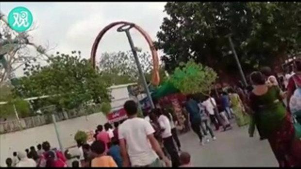 สยองกลางสวนสนุก เครื่องเล่นอินเดียหัก ตกกระแทกพื้น ตาย 2 ศพ