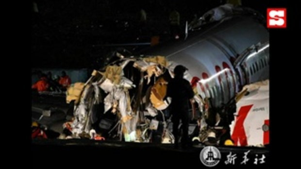 เครื่องบินตุรกีพุ่งไถลหลุดรันเวย์จนหักออกเป็น 3 ท่อน มีผู้เสียชีวิต 1 ราย บาดเจ็บ 157