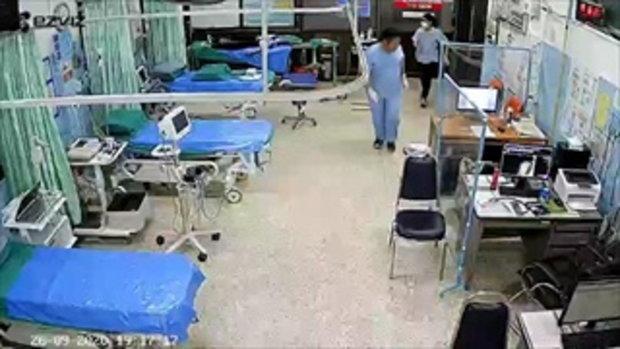 คลิประทึก! หมอพยาบาลวิ่งหลบ หลังได้ยินเสียงปืนหน้าห้องฉุกเฉิน