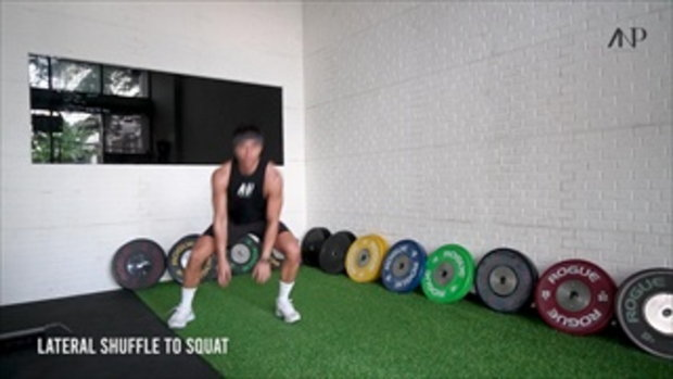 ท่าออกกำลังกายที่บ้าน Lateral shuffle to squat