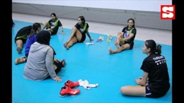 บรรยากาศฝึกซ้อม! นักตบลูกยางสาวไทย เข้าแคมป์ลุยศึก เนชั่นส์ ลีก 2021