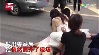 เธอคือฮีโร่...พยาบาลสาวโดดลงจากรถ ช่วยชีวิตคนถูกรถชนทั้งชุดเจ้าสาว