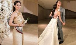 """""""มิว นิษฐา"""" ในพิธีหมั้น พร้อมชุดไทยจักรพรรดิสุดสง่า และชุดฉลองแสนงดงาม"""