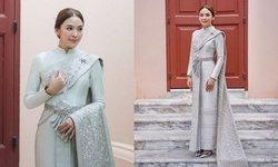"""งดงามมาก """"น้ำหวาน พิมรา"""" ในชุดไทยเข้าพิธีสงฆ์ รับสิริมงคลชีวิตคู่"""