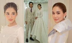 """ชุดแต่งงานเช้า """"ก้อย รัชวิน"""" สวยหวานละมุนนี รวมเบอร์หนึ่งเมืองไทย เสื้อผ้า หน้า ผม ครบ"""